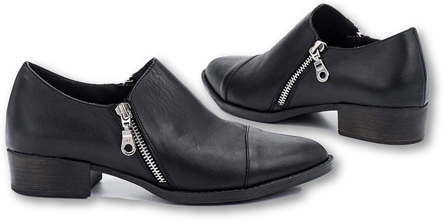 B.Unique Leather Loafers for Women Slip On Penny Loafer Pumps with Stacked Block Heel with YKK Zippers