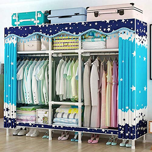 CXVBVNGHDF Wardrobe Portable Closet, Fabric Canvas Wardrobe Strong and Durable, 25 Mm Steel Pipe Wardrobes for Bedroom, Children's Room, Cloakroom,D