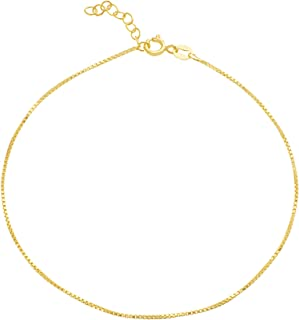 MIA SARINE Sterling Silver 9 10 Inch Rope Curb Figaro or Box Chain Anklet for Women (Various Style)