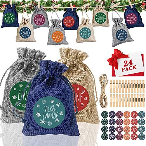 Gxhong 24 Pezzi Calendario Dell'avvento Riempire Borsa per Il Conto alla Rovescia Sacchetto Regalo di Natale con 1-24 Adesivi Numerici 24 Clip e Corda di Canapa Sacchetti Juta