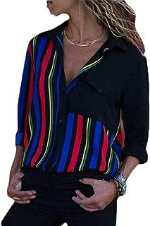YIhujiuben Womens Fashion Long Sleeve Button Down Loose Fit Blouse Solid Tops Shirt