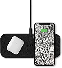 Courant Catch:2 Multi-Device Wireless Charger, Qi Certified, Fast-Charging, Italian Leather, Compatible with iPhone 11 Pro/11 Pro Max/11/Xs/XS Max/XR/X/8/8-Plus/AirPod 2/Android (Black)