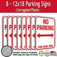 No Parking Tow Away Zone 波型プラスチックサイン 両面テープ付き(8)