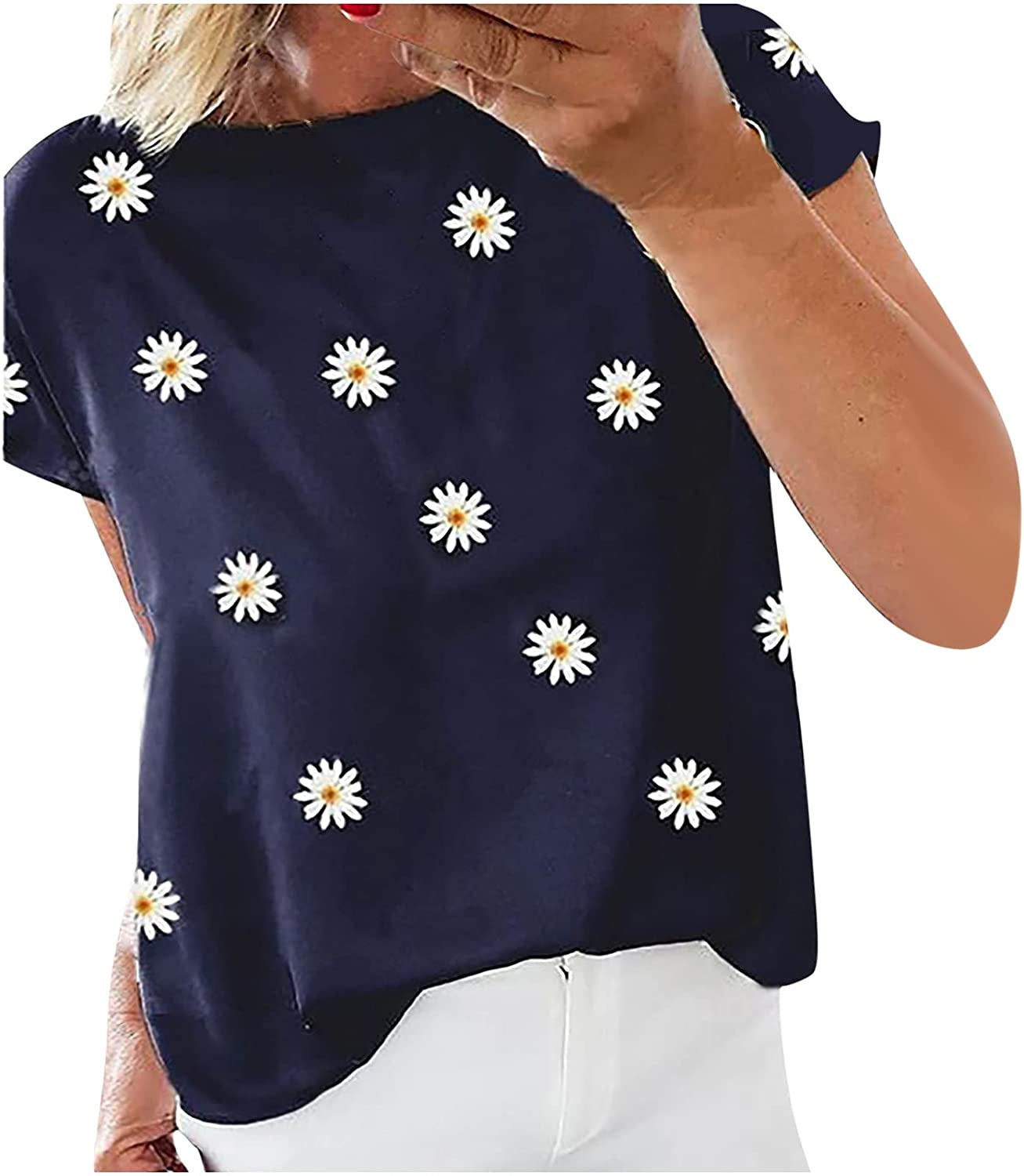 Graphic Tops for Womens Funny Sunflower Printed Tee Shirts Loose Fit Short Sleeve Summer T-Shirts Tee Tops