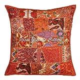 Stylo Culture Indian Throw Pillows para Camas Patchwork Naranja Bordado Throw Pillow Funda de cojín Cotton Square Cosido a Mano Floral 60x60 cm Fundas de cojín (1 Pieza)