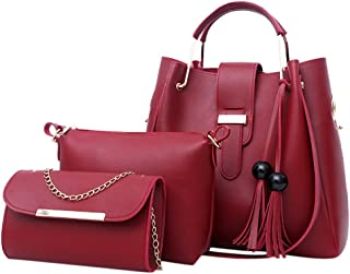 YESWOMAN 3pc Leather Bag Fashion Women's Outdoor Packs Solid Color Three-Piece Handbag Ladies Messenger Bag Three Set