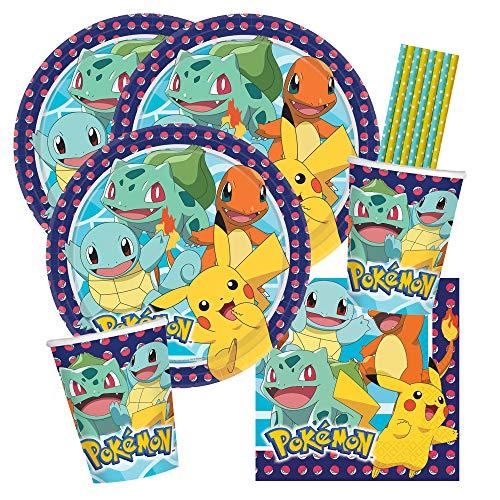 spielum 40-teiliges Party-Set Pokemon - Teller Becher Servietten Trinkhalme für 8 Kinder