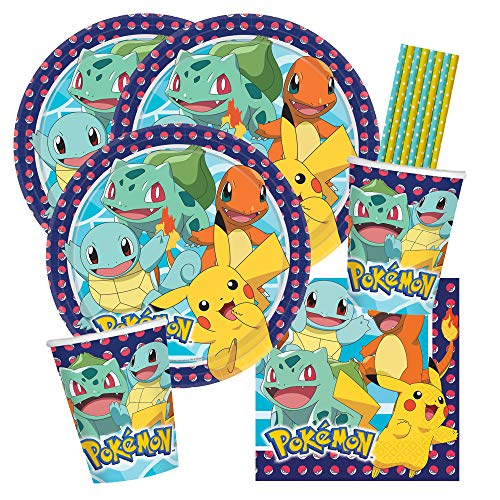 spielum 40-teiliges Party-Set Pokemon - Teller Becher Servietten Trinkhalme für 8 Kinder