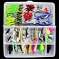 OriGlam 101PCS Fishing Lure Set Kit Fishing Tackle Lots,Portable Fun Fishing Baits Kit Set for Saltwater and Freshwater With Tackle Box from OriGlam