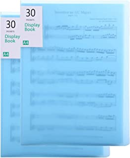 2 Pack File Folder A4 Display Book Plastic Presentation Book Portfolio Folder 30 Page File Folder Document Organizer Stora...