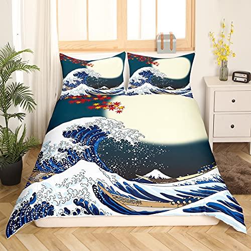 Loussiesd Hokusai - Juego de cama exótica de estilo japonés, juego de ropa de cama de 135 x 200 cm, para niños, mujeres, adultos, Fuji Mountain