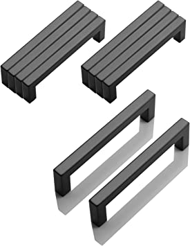 Probrico 10 Pcs Black Square Bar Kitchen Cabinet Door Knob Stainless Steel Hole Spacing 128mm 5 Furniture Drawer Handle Cupboard Pull Bar Size 12mm 12mm Amazon Co Uk Diy Tools