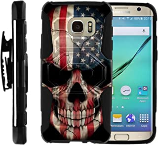 TurtleArmor | Compatible with Samsung Galaxy S7 Edge Case | G935 [Octo Guard] Dual Layer Case Holster Belt Clip Sturdy Kickstand Cover - US Flag Skull