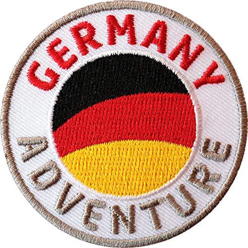 2 x Deutschland Abzeichen 60 mm gestickt / Germany Aufnäher Aufbügler Patch Bügelbild Sticker Bügel-Patch Wappen Flicken für Kleidung Rucksack / Reiseführer Flagge Fahne Flagg Europa EU Land deutsch