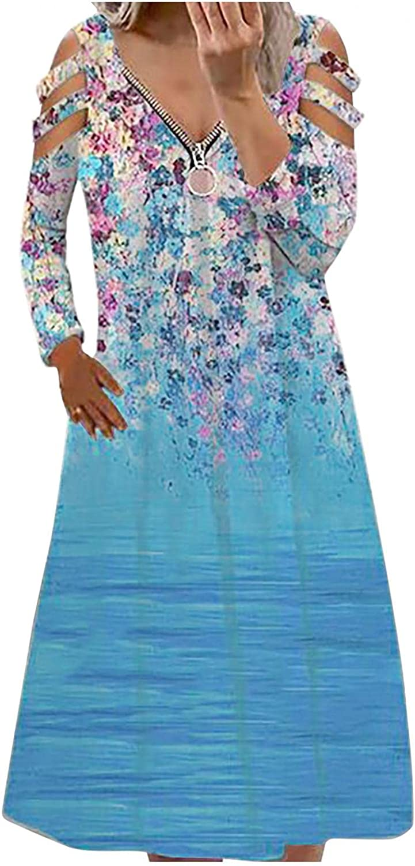 Oiumov Off The Shoulder Dresses for Women Long Sleeve Casual Sexy V-Neck Sunfloral Print Boho Maxi Cocktail Zipper Dress