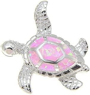 925 Sterling Silver Hawaiian Honu sea Turtle Pink Synthetic Opal Slider Pendant 25mm