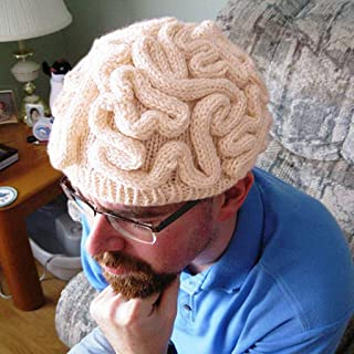 Gogoodgo Creative Hand Made Brain Knitted Hat Unique Thinking Cap Decoration Cosplay Party Costume Head Prop