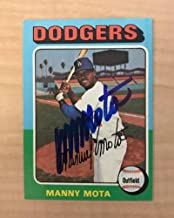 MANNY MOTA LOS ANGELES DODGERS SIGNED AUTOGRAPHED 1975 TOPPS CARD #414 W/COA