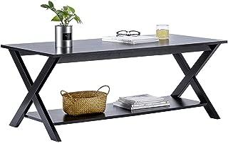 ChooChoo Wood Coffee Table Rustic X Design for Living Room, Modern Tea Table with Storage Shelf, Easy Assembly Black