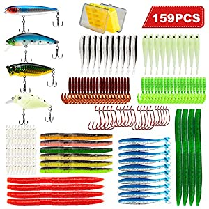 BesWlz Fishing Lures Set Fishing Baits Tackle Kit,Including Fishing Lures,Crankbaits,Plastic Worms,Topwater Lures,Soft Fishing Lures for Bass with Fishing Tackle Box (159PCS)