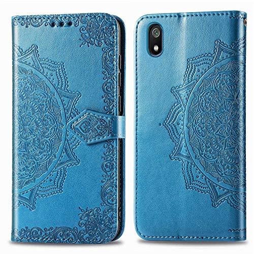 Bear Village Hülle für Xiaomi Redmi 7A, PU Lederhülle Handyhülle für Xiaomi Redmi 7A, Brieftasche Kratzfestes Magnet Handytasche mit Kartenfach, Blau