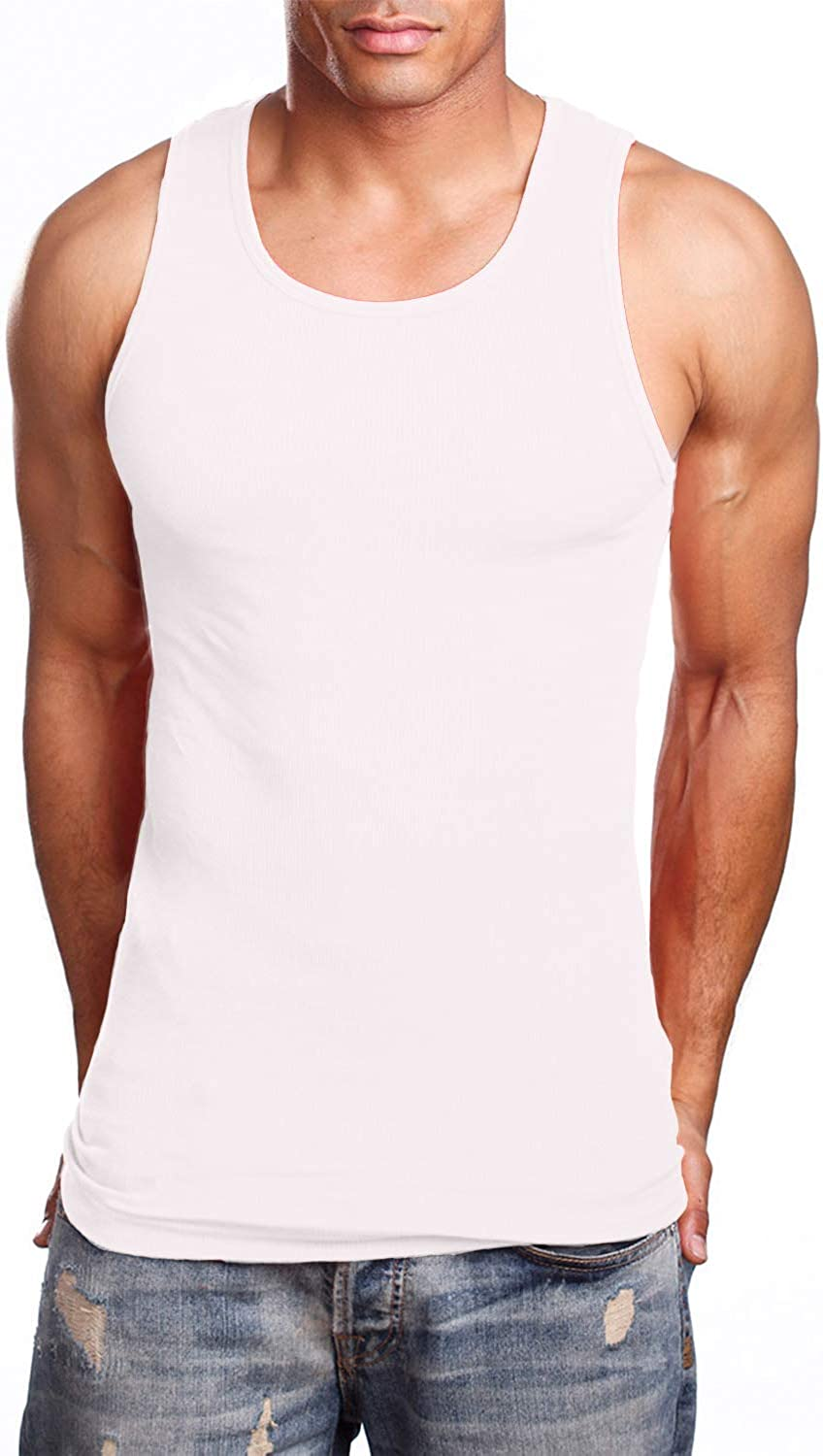 NE PEOPLE Men's Everyday Active Comfy Ribbed Knit Cotton A-Shirts Undershirts Sleeveless Tank Tops S-5XL