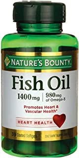 Nature's Bounty Fish Oil 1400 mg Omega-3 Softgels 39 ea ( Pack of 4)