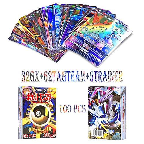 JIM - 100 Stücke Pokemon Karten,Spiel Karten Pokemon, GX Karten EX MEGA Energy Trainer Karten(32gx+62tagteam+6trainer)