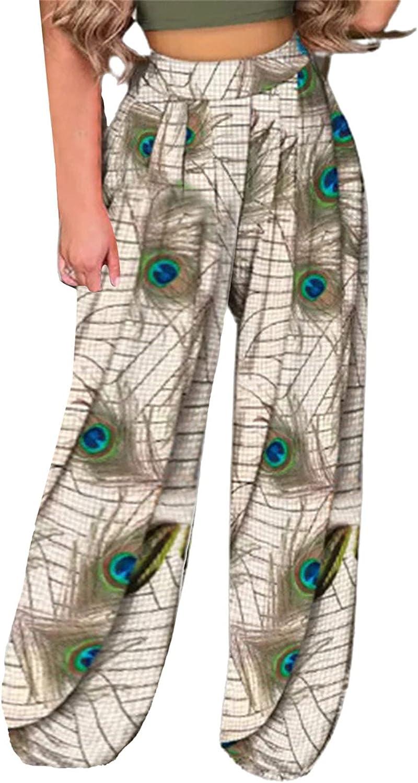 Bikegna Women High Waist Wide Pants Printing Easy Trousers Long Pants TIK Tok Boho Beach Pockets Pants
