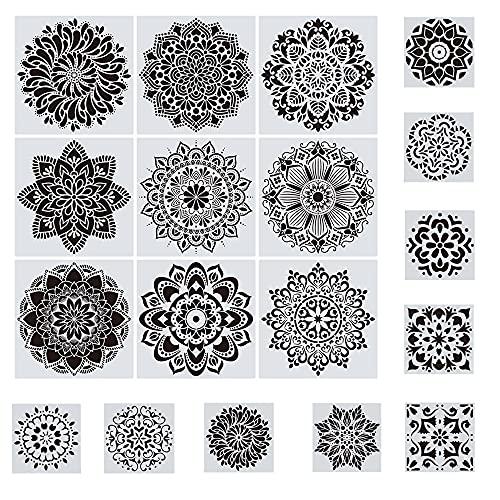 Woohome 18 Plantillas de Mandala Reutilizables, Plantillas de Dibujo de Mandala para...