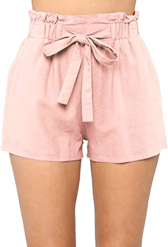 Yissang Women's Casual Loose Paper Bag Waist Shorts with Bow Tie Belt Pockets