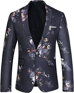 Allthemen Men's Casual Dress Suit Slim Fit Stylish Floral Dinner Tuxedo Wedding Coats Party Blazer
