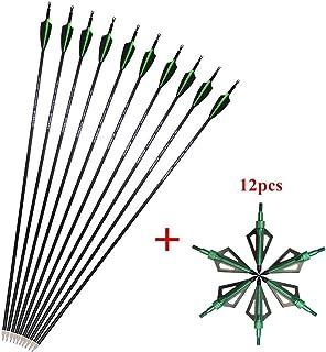 SHARROW 12pcs Flechas de Carbono 30.5 Pulgadas Spine 500 para Arco Compuesto Recurvo Flechas de Caza