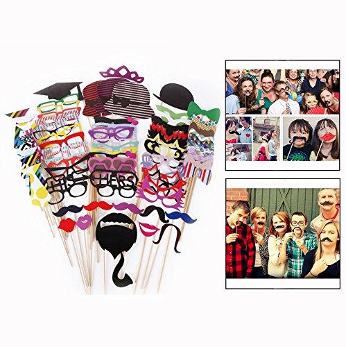 OFKPO 76 stuks fotorequisieten en fotoaccessoires, doe-het-zelf foto-booth voor bruiloft, verjaardag, Kerstmis, party, snor, lippen, bril, stropdas, hoeden]