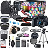 Canon EOS Rebel T7i DSLR Camera Deluxe Video Creator Kit with Canon EF-S 18-55mm f/3.5-5.6 is STM Lens + Wide Angle & Telephoto Lens + SanDisk 32GB Memory Card + Commander Optics Accessory Bundle