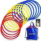 Baytiz | 13 Aros de Agilidad + Bolsa de Transporte - Entrenamiento para la Coordinación y Velocidad - Regalo para Fútbol Deporte Juego de Niños Mochita Supuesto Setos Almohadillas Tàcticas Entrenador