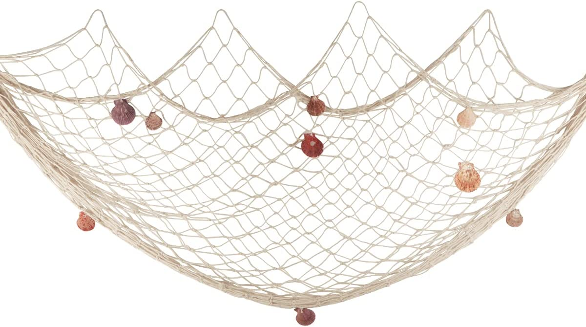 Fishing Net Wall Decor with Natural Shells Beach Themed Fishing