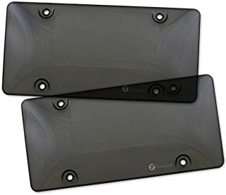 Zone Tech Clear Smoked License Plate Cover Frame Shields - 2-Pack Novelty/License Plate Clear Smoked Bubble Shields