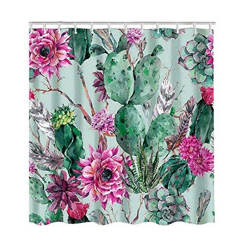 Litthing Duschvorhang 180x180 Anti-Schimmel und Wasserabweisend Shower Curtain mit 12 Duschvorhangringen 3D Digitaldruck Grüne Pflanze mit lebendigen Farben (4)