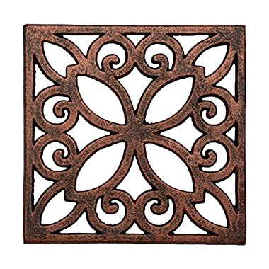 Decorative Cast Iron Trivet For Kitchen Or Dining Table -| Square with Vintage Pattern - 6.5 x 6.5  - With Rubber Pegs/Feet - Recycled Metal - Vintage, Rustic Design - by Comfify