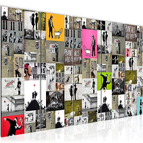 Runa Art Wandbild XXL Collage Banksy 200 x 80 cm Bunt 5 Teilig - Made in Germany - 302755a