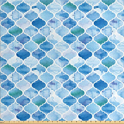 Ambesonne Moroccan Fabric by The Yard, Oriental Style Mosaic Pattern in Watercolor Paint Retro Style Artwork Print, Decorative Fabric for Upholstery and Home Accents, 1 Yard, Pale Blue