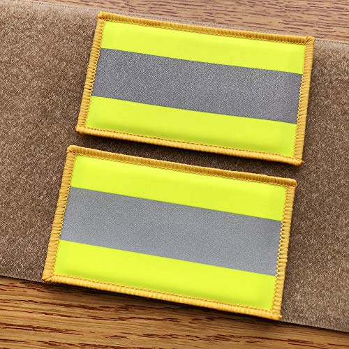 2 Pack Reflective Hook Fastener Safety Patch Hook Loop Firefighter Rescue Police EMT EMS Hi Vis Patch (Fluor Yellow)