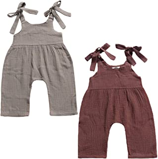 REWANGOING 2 Pack of Baby Infant Kids Girl Sleeveless Ruffle One Piece Bodysuits Jumper Jumpsuit Clothes Outfits