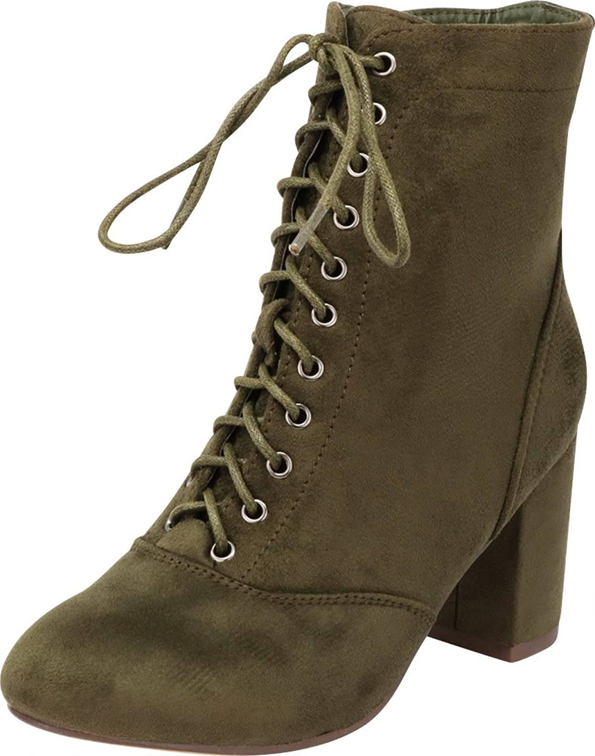 Cambridge Select Women's Closed Round Toe Lace-up Chunky Block Heel Ankle Bootie