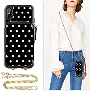 ZVE iPhone X Wallet case, iPhone Xs Case with Credit Card Holder Slot Crossbody Chain Wristlet Handbag Purse Protective Zipper Leather Case Cover for Apple iPhone Xs and X, 5.8 inch - Polka Dots