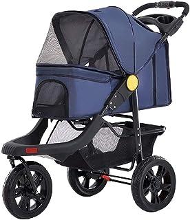 Pet Equipment cat/Dog pet Stroller, Jogger cat and Dog cage 3-Wheel Stroller, Travel Folding Stroller with Cup Holder. Blue