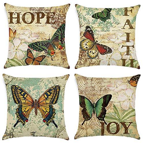Gspirit 4 Pack clásico Mariposa Algodón Lino Throw Pillow Case Funda de Almohada para Cojín 45x45 cm