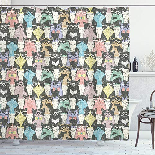 """Ambesonne Funny Cartoon Shower Curtain, Theme of Playful Hipster Cats with Glasses Colorful Dotted Designed Print, Cloth Fabric Bathroom Decor Set with Hooks, 70"""" Long, Charcoal"""