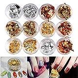 QED - 12 piezas de pegatinas para decoración de uñas,...
